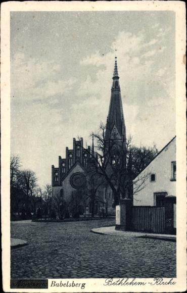 Ak Babelsberg Potsdam in Brandenburg, Straßenpartie mit Blick auf die Bethlehem Kirche 0