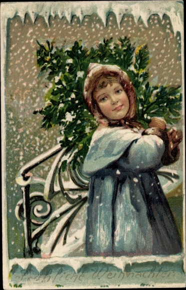 Präge Litho Glückwunsch Weihnachten, Mädchen mit Tannenbaum, Schneefall 0