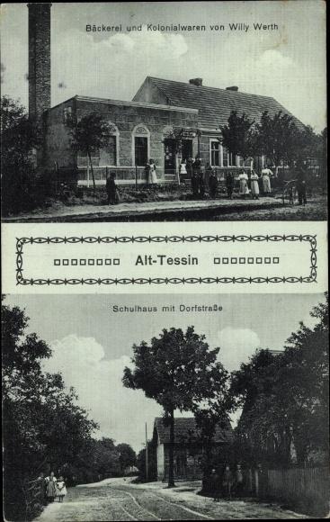 Ak Alt Tessin bei Rostock, Schulhaus, Dorfstraße, Bäckerei, Kolonialwaren Willy Werth 0