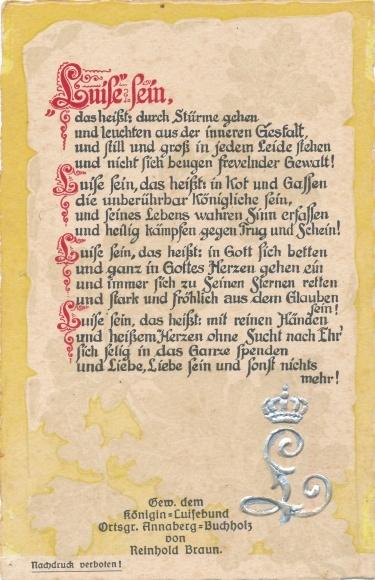 Gedicht Präge Ak Annaberg Buchholz Erzgebirge, Königin Luisebund, Reinhold Braun, Luise sein 0