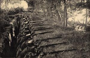 Ak Schweizer Soldaten im verdeckten Schützengraben, Anvisieren mit Gewehren, Grenzbesetzung 1914