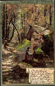 Künstler Ak Guggenberger, Thomas, Oktober Allegorie, alte Frau beim Gebet an der Waldkapelle