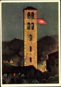 Künstler Ak Taddei, L., Kirchturm mit Schweizer Nationalflagge bei Nacht