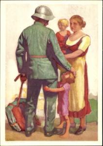 Ganzsachen Ak Schweizer Soldat mit Familie, Abschied, Schweizer Bundesfeier 1929