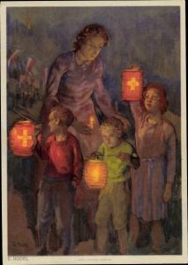 Künstler Ak Hodel, E., Schweizer Bundesfeier 1947, Frau mit Kindern und Lampions mit Schweizer Kreuz