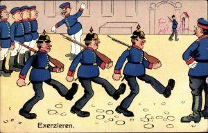 Litho Soldaten beim Exerzieren