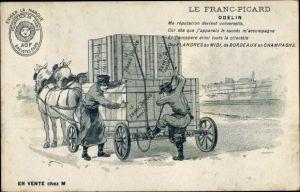 Ak Le Franc Picard Odelin, Werbung, Transport per Pferdefuhre, Verladen von Kisten