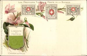 Wappen Briefmarken Ak Schweiz, Liberté et Patrie, les premiers Timbres