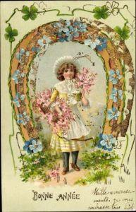 Präge Litho Glückwunsch Neujahr, Mädchen mit Blumen, Hufeisen, Vergissmeinnicht
