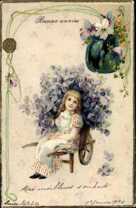 Präge Litho Glückwunsch Neujahr, Mädchen mit Veilchen, Blumen