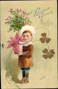 Präge Litho Glückwunsch Neujahr, Junge mit Fliederstrauch