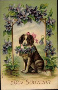Präge Litho Hund mit Korb voll Veilchen