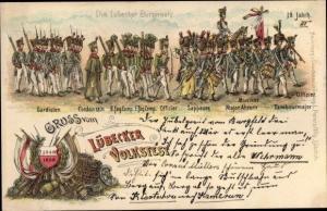 Litho Lübeck in Schleswig Holstein, Volksfest 1898, Bürgerwehr, Gardisten, Sappeure, Musiker