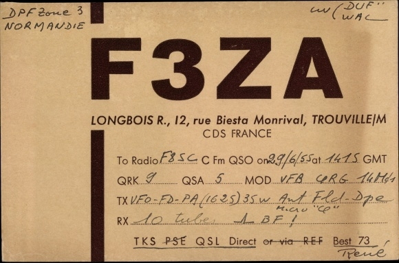 Ak Trouville Calvados, Funkerkarte, QSL Kennung F3ZA, Longbois R.