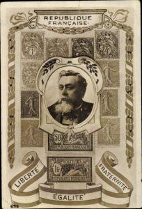 Briefmarken Ak Armand Fallières, President de la Republique Francaise