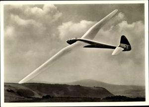 Ak Segelflugzeug Reiher in der Kurve, Großflugtag des bad. pfälz. Luftfahrtvereins 1953