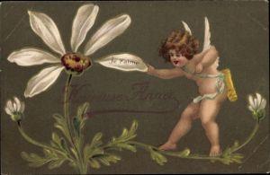 Präge Ak Heureuse Annee, Glückwunsch Neujahr, Engel, Margerite