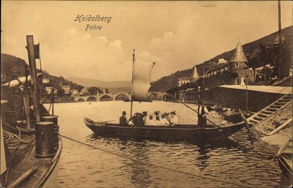 Ak Heidelberg am Neckar, Fähre, Flusspartie, Brücke, Trenkler Hdb. 57