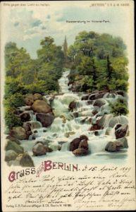 Halt gegen das Licht Litho Berlin Kreuzberg, Wassersturz im Viktoria Park, Meteor 88690