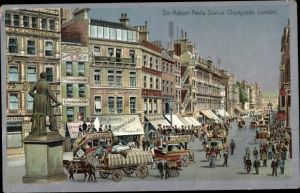 Ak Cheapside London City, Sir Robert Peel's Statue