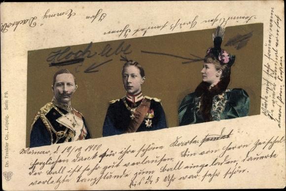 Ak Kaiser Wilhelm II., Kaiserin Auguste Viktoria, Kronprinz Wilhelm von Preußen