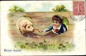 Präge Litho Glückwunsch Neujahr, Junge mit Schweinchen