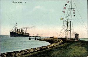 Ak Cuxhaven in Niedersachsen, Schnelldampfer Deutschland, Signalstation