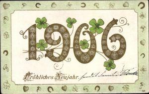 Präge Litho Glückwunsch Neujahr, Glückwunsch Neujahr 1906, Kleeblätter, Hufeisen, Pilze