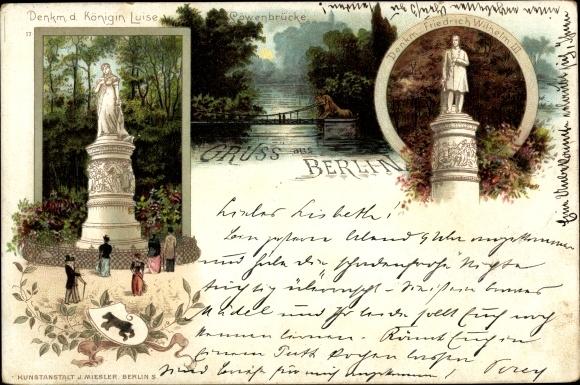 Litho Berlin Tiergarten, Königin Luise Denkmal, Löwenbrücke, Friedrich Wilhelm III Denkmal