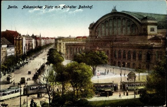 Ak Berlin Kreuzberg, Askanischer Platz mit Anhalter Bahnhof