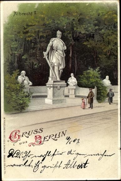 Litho Berlin Tiergarten, Albrecht II. Denkmal