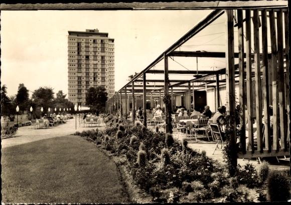 Ak Berlin Charlottenburg, Interbau 1957, Hauptrestaurant, Hochhaus