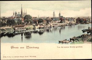 Ak Würzburg am Main Unterfranken, Gesamtansicht, Mainpartie