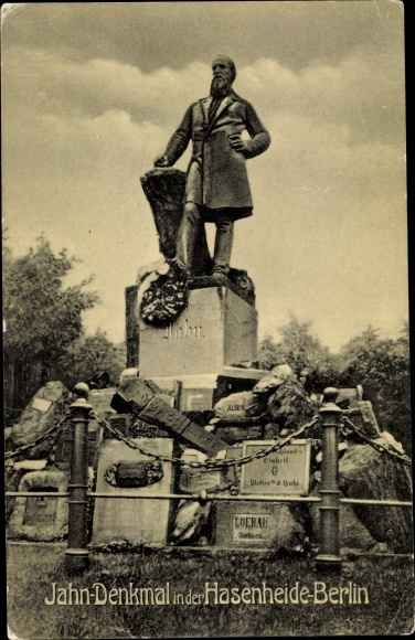 Ak Berlin Neukölln Rixdorf, Jahn Denkmal, Hasenheide