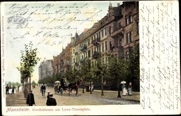 Ak Mannheim in Baden Württemberg, Goethestraße am Lawntennisplatz