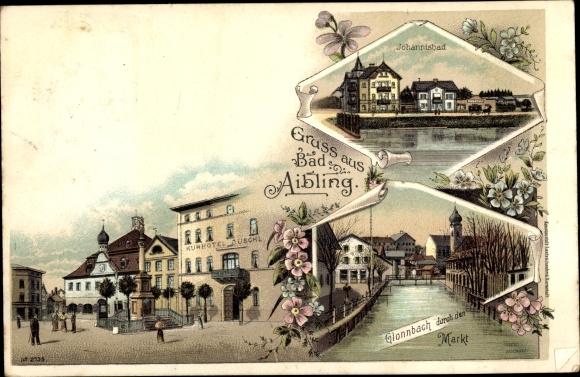Litho Bad Aibling in Oberbayern, Glonnbach durch den Markt, Johannisbad, Kurhotel Duschl