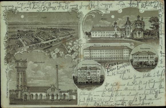 Mondschein Litho Lagerlechfeld Graben Schwaben, Lager, Wasserwerk, Kloster, Platzkommando