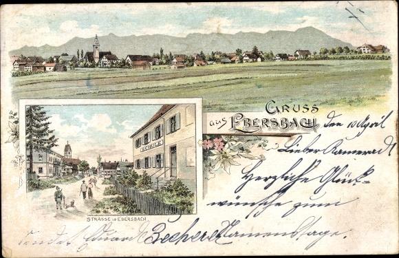 Litho Ebersbach Obergünzberg Bayern, Straßenpartie, Totalansicht
