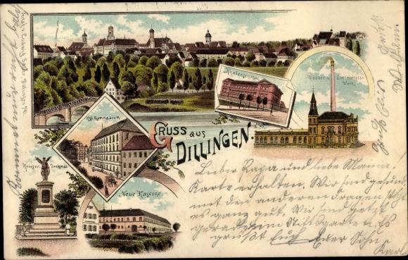 Litho Dillingen an der Donau in Nordschwaben, Gymnasium, Knabenseminar, Neue Kaserne