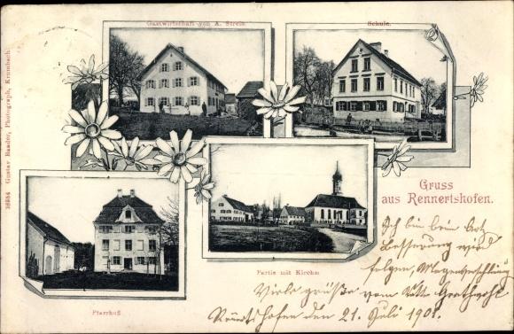 Ak Rennertshofen Oberbayern, Kirche, Pfarrhof, Gastwirtschaft, Schule