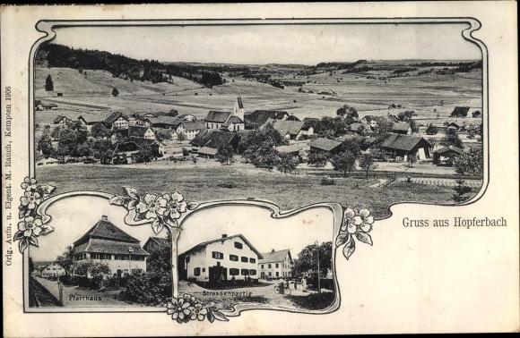 Ak Hopferbach Untrasried Bayern, Totalansicht, Pfarrhaus, Straßenpartie