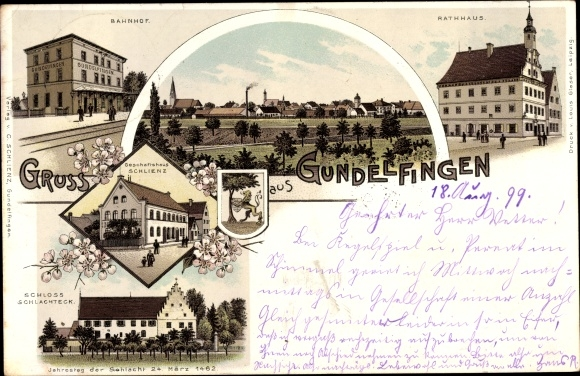 Litho Gundelfingen Donau, Bahnhof, Rathaus, Geschäfthaus Schlienz, Schloss Schlachteck