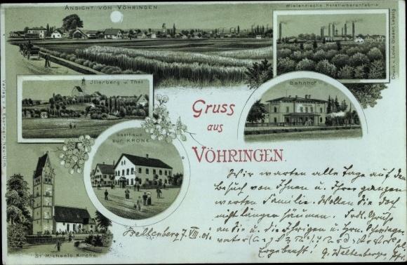 Mondschein Litho Vöhringen in Schwaben Bayern, Illerberg, Gasthaus zur Krone, St. Michaels Kirche
