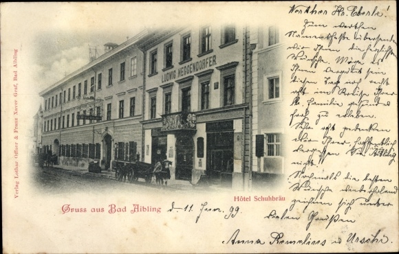 Ak Bad Aibling im Kreis Rosenheim Oberbayern, Blick zum Hotel Schuhbräu
