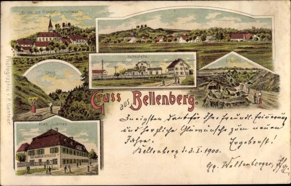Litho Bellenberg bayr. Schwaben, Kirche, Pfarrhof, Schule, Steig, Schlucht, Altes Schloss