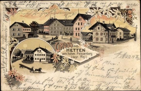 Litho Hetten Hohenpeißenberg Bayern, Teilansichten, Restaurant