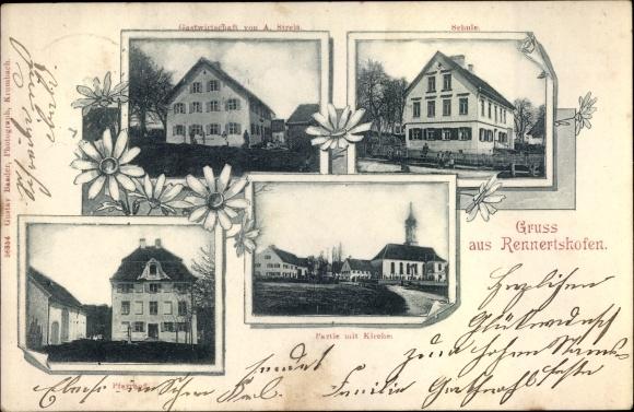 Ak Rennertshofen Oberbayern, Schule, Gastwirtschaft, Pfarrhof, Kirche