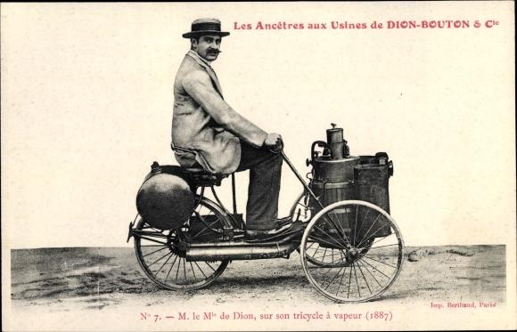 Ak Les Ancetres aux Usines de Dion Bouton & Cie., M. le Mis de Dion, sur son tricycle à vapeur