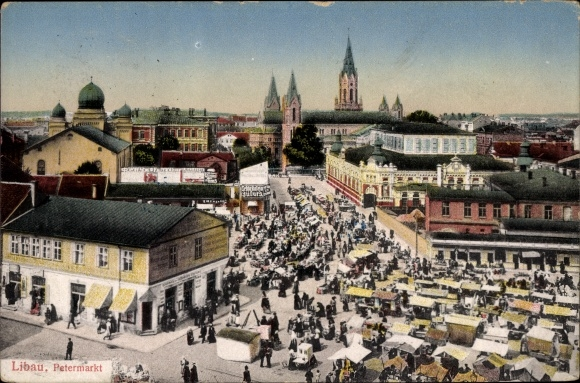 Ak Liepaja Libau Lettland, Der Petermarkt, Synagoge