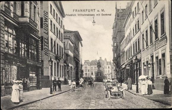 Ak Frankfurt am Main, Friedrich Wilhelm Straße mit Denkmal, Hotel Ludwig